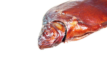 Fresh smoked fish head bream isolated photo