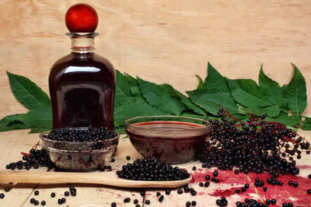 The syrup of black elderberry photo