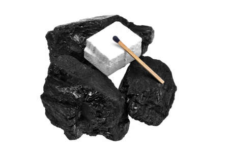 Coal and white flammable firelighters Stock Photo