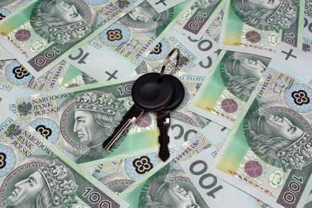 Car keys and polish money  background photo