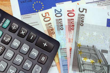 Tax europe form with money euro vat polish