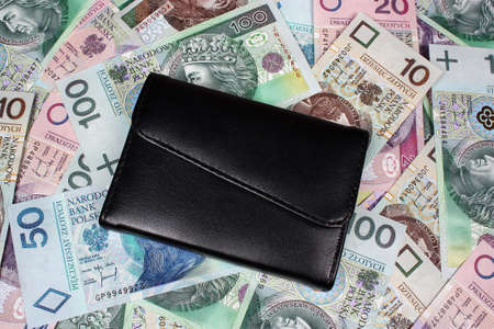 Money polish background and wallet Stock Photo