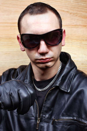 Very aggressive chief mafia gangster thug Stock Photo - 26051204