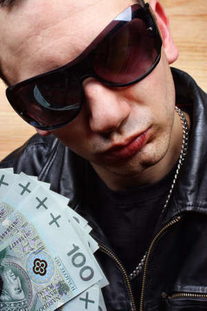 Chief boss mafia gangster thug with stolen polish money Stock Photo - 26406944