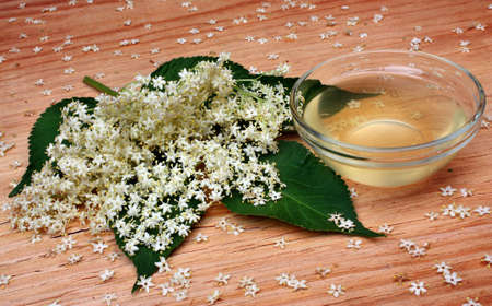 Health  elderberry flowers drink on a wooden table photo