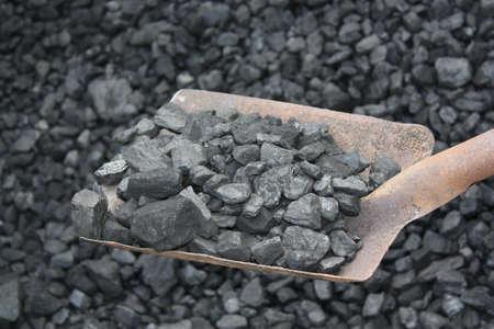 coal mining: Shovel and coal in the background coal mine