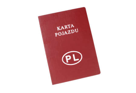 formalities: Poland vehicle card on a white background Stock Photo