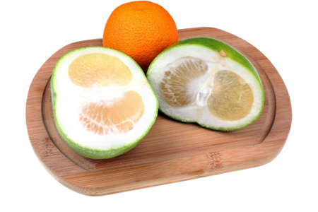 sectioned: Sweetie and orange on a white background