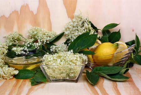 Fresh summer healthy drink with elderberry flowers photo