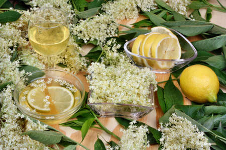 Healthy glass of fresh syrup with elderberry flowers photo