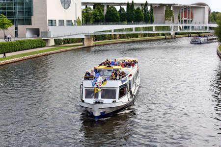 spree: Berlin, Germany - May 18, 2015: Tourist boats on Spree River in Berlin Editorial