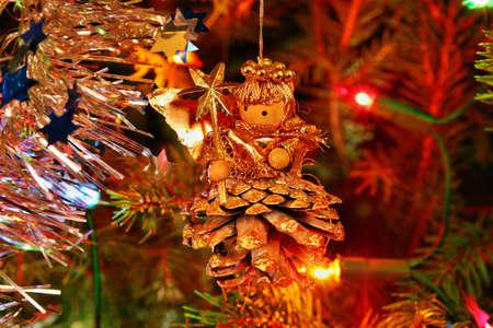 angel tree: Shining lights and angel on the Christmas tree