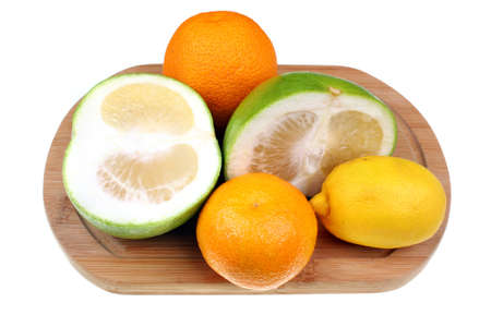 sectioned: Mix of citrus fruits lemon, mandarin, orange, grapefruit sweetie
