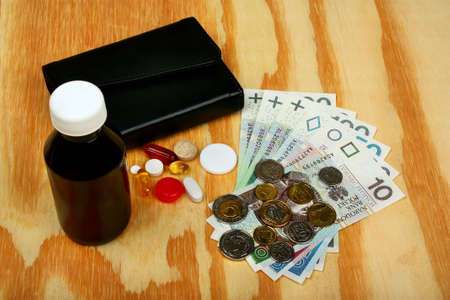 money wallet: Polish money, wallet and medical pill