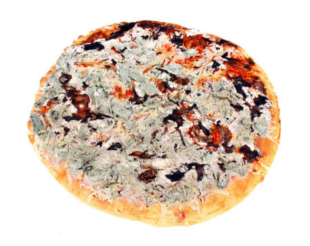 poisoning: Old moldy pizza on a white background. Food poisoning