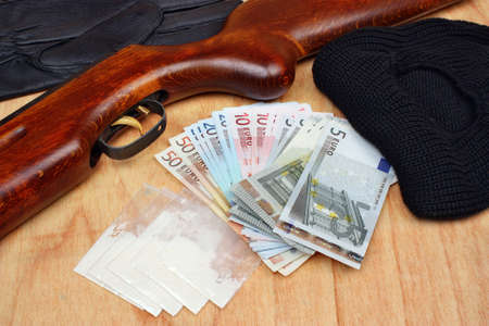 drug dealer: Things bandit criminal drug dealer gun, balaclava, gloves euro money on the table