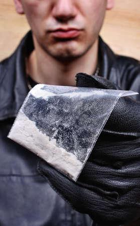 drug dealer: Drug dealer selling heroin or cocaine Stock Photo