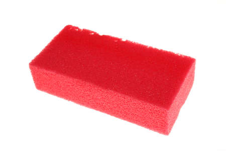 steel wool: Sponge red for washing dishes Stock Photo