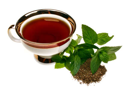 Mint mentha pulegium tea herbs isolated on a white background Stock Photo