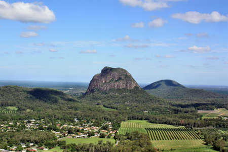 View from Mount Ngungun, Tibrogargan at Glass House Mountains, Sunshine Coast, Queensland, Australia. Stock Photo