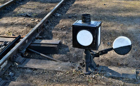 Old railroad track switch manually operated