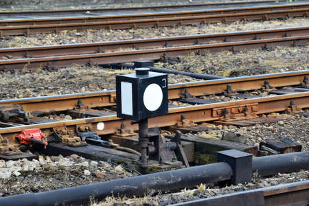 Old railroad track switch automatically from rail control room Reklamní fotografie