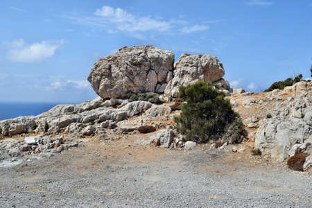 View of the big stone on the way to the Formentor lighthouse in Mallorca, Spain 스톡 콘텐츠