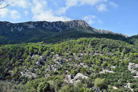 View of the Lluc mountains on the way to the SA Calobra in Mallorca, Spain