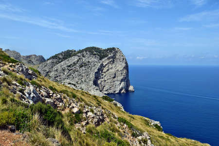 Beautiful sea bay and mountains, Cala Figuera on Cap Formentor, Mallorca in Spain