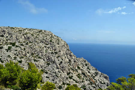 Beautiful sea bay and mountains on Cap Formentor, Mallorca in Spain 스톡 콘텐츠