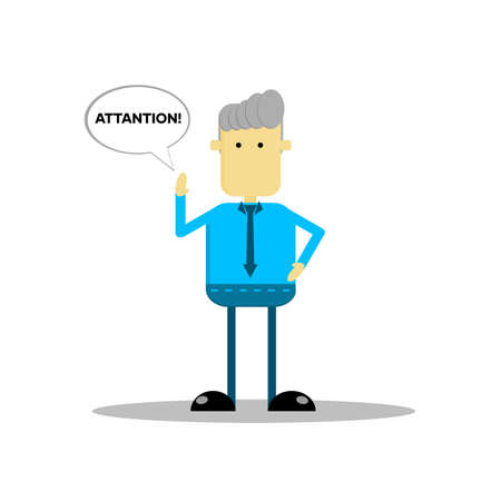Cartoon character illustration of a businessman, with an attentive expression, suitable for business and office work infographics