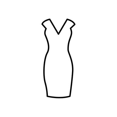 vector icon women dress illustration isolated, outline style