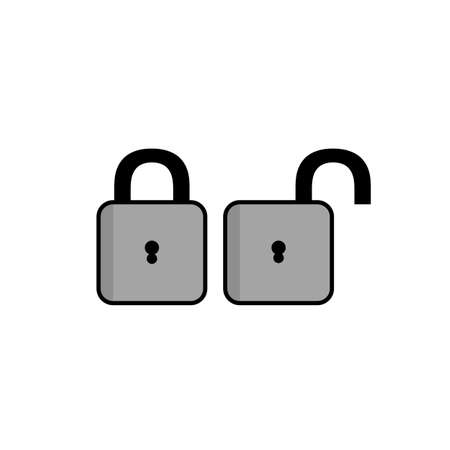 Padlock icon, flat design closed and open padlock illustration. vector illustration Stock fotó - 154793830