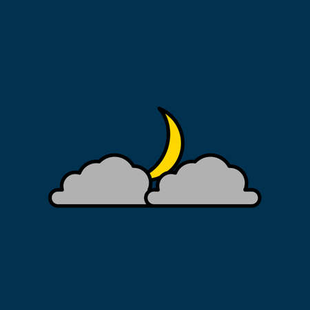 Night illustration, illustration of a crescent moon hiding behind a cloud. vector icon illustration