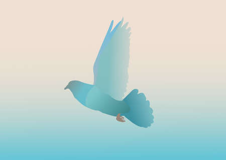Painting of a flying pigeon. Beautiful pigeon painting illustrations are flying. Wall painting. vector illustration