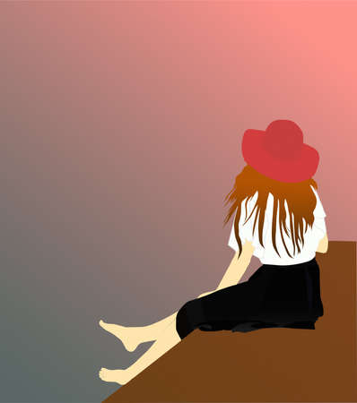A painting of a woman sitting alone. the illustration of a woman wearing a black hat and skirt is sitting alone. wall painting vector Illustration Stock fotó - 155718723