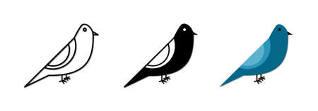 Vector icon of a bird with 3 kinds of design, outline, black and colored. vector illustration