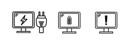 Computer device icon with outline, computer is charging, fully charged, and low battery warning. vector icon illustration Illusztráció