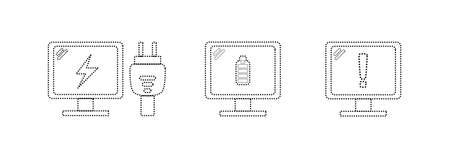 Computer device icons with dotted lines, computer charging, full power, and low battery warning. vector icon illustration Illusztráció