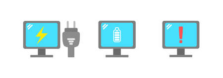 Computer device icon, computer is charging, full power, and low battery warning. vector icon illustration Stock fotó - 157931174