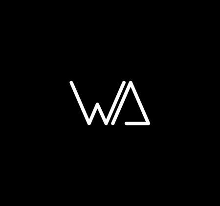 Letter WA alphabet design vector. The initials of the letter W and A design in a minimal style are suitable for an abbreviated name .