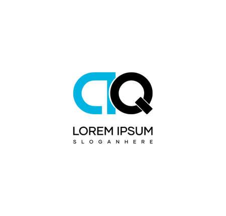 Letter AQ alphabet logo design vector. The initials of the letter A and Q logo design in a minimal style are suitable for an abbreviated name logo. Illusztráció