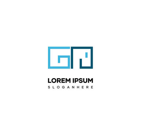Minimal logo design forming the letters GN. matching logos for names prefixed with the letters G and N.