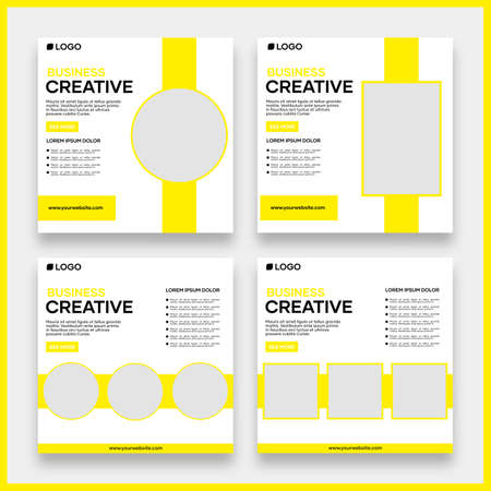 Vector social media post template design for business. With yellow color and white background. Suitable for business social media posts and website internet advertising