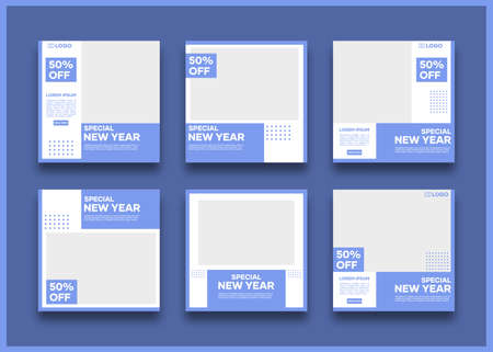 Editable social media banner template bundle. In blue and white. Suitable for social media posts and website internet advertising