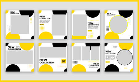 A collection of editable minimal square banner templates for social media content. White, black, and yellow background colors. Suitable for social media posts and website internet advertising