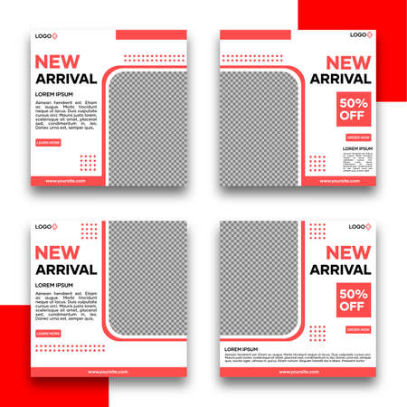Social media banner template bundle. With red on white background. Suitable for social media posts and website internet advertising