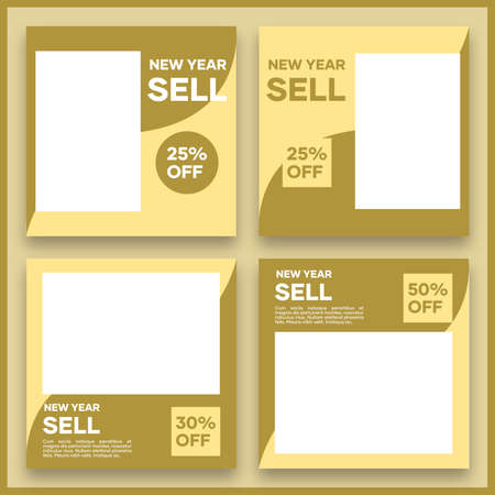Collection of vector social media templates. In brown. Suitable for social media posts and website internet advertising