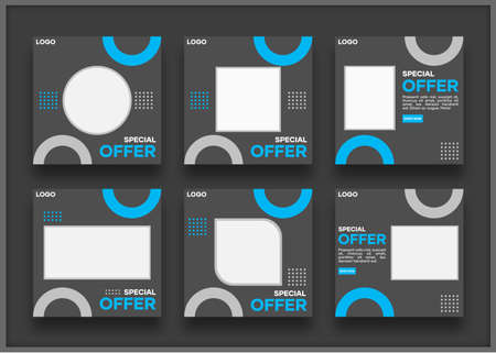Social media template bundle. with a black background and variations of blue. Suitable for social media posts and website internet advertising Illusztráció