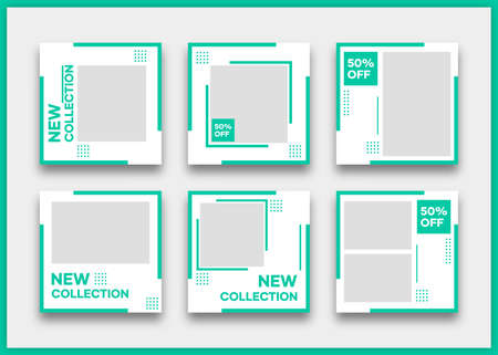 Social media banner template bundle. With green on white background. Suitable for social media posts and website internet advertising